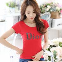 短袖t恤女夏天棉t恤圆领烫钻印花韩国修身显瘦通勤体恤衫女装上衣
