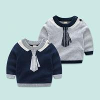 春秋款童装男宝宝衣服长袖薄款针织上衣 婴儿纯棉可爱T恤外出服潮