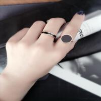 韩版钛钢玫瑰金黑陶瓷戒指情侣男戒指环女对戒食指尾戒简约配饰