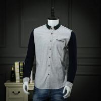 捌零折扣男装 柜子剪标春装衬衣男长袖微厚拼接波点休闲衬衫寸衫