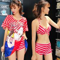 泳衣女三件套镂空卡通可爱休闲显瘦比基尼钢托聚拢平角裤温泉