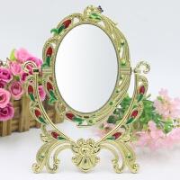 圣诞节礼物台式化妆镜欧式桌面镜子便携双面梳妆镜复古孔雀反面2倍放大镜子G