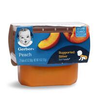 美国进口Gerber嘉宝1段桃泥水果泥宝宝辅食婴幼儿零食无添加6月+