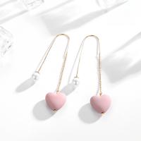 粉色爱心珍珠耳环个性长款耳坠潮耳钉女时尚气质甜美耳饰 粉色爱心珍珠耳环