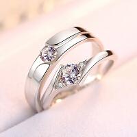 情侣戒指925纯银饰品简约个性男女对戒日韩一对学生活口刻字礼物