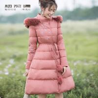 烟花烫2018冬新款女时尚简约气质系带刺绣显瘦保暖羽绒服 南芬
