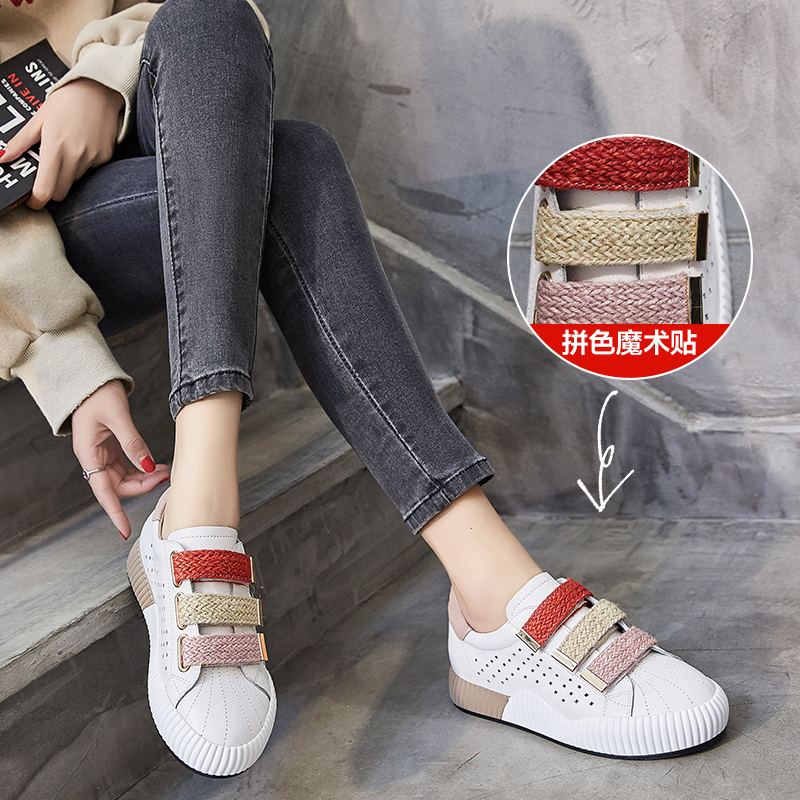 ZHR2018春季新款zipper鞋软妹小白鞋平底网洞单鞋韩版休闲鞋女鞋V55