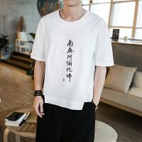 中国风男装 夏季复古亚麻短袖T恤男麻料刺绣大码上衣棉麻体恤衫