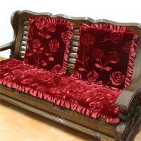 毛绒实木沙发垫加厚防滑红木沙发座垫联邦椅坐垫长椅垫冬 仿羊毛玫瑰花 红(4CM款)