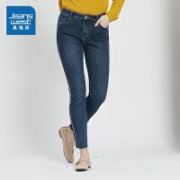 [秒杀价:78.9元,年货节限时抢购,仅限1.15-19]真维斯女装 2019秋装 弹力混纺雨纹牛仔裤