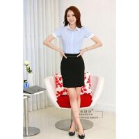 夏季短袖前台工作服职业装工装面试正装女士白色衬衫短裙两件套装 X