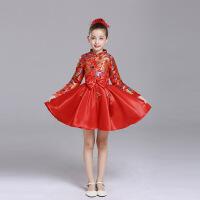 中国风儿童演出服唐装表演服女童古筝连衣裙合唱礼服主持人公主裙