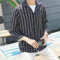 秋季男士条纹衬衫男长袖宽松 韩版潮流日系时尚青年简约免烫衬衣