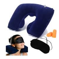 充气枕头u型护颈枕 午休 旅游三宝 充气枕+遮光眼罩+防噪音耳塞 颈椎枕 旅行航空枕 护眼罩