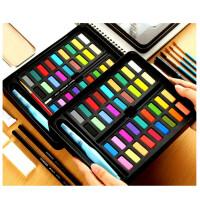 水彩颜料套装24色36色水彩画学生手绘便携画笔本套装固体水粉饼铁盒初学者不透明绘画工具 套装三款 其他