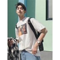 韩版宽松情侣短袖t恤原宿bf风上衣夏季新款男士印花圆领体恤潮流