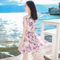 夏季新款女装短款裙子无袖雪纺连衣裙波西米亚海边度假沙滩裙短裙 图片色 XZA272