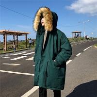 冬季中长款连帽棉袄韩版加厚大毛领棉衣帅气男生保暖纯色棉服外套