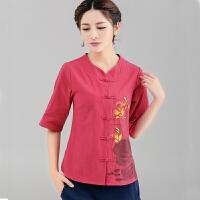 棉麻夏季衬衫女民族风夏装新款棉麻唐装盘扣中袖手绘中式开衫上衣