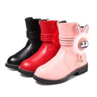 乌龟先森 儿童靴子 女童单色侧拉链中筒加厚马丁靴冬季新款韩版儿童时尚休闲舒适百搭鞋子