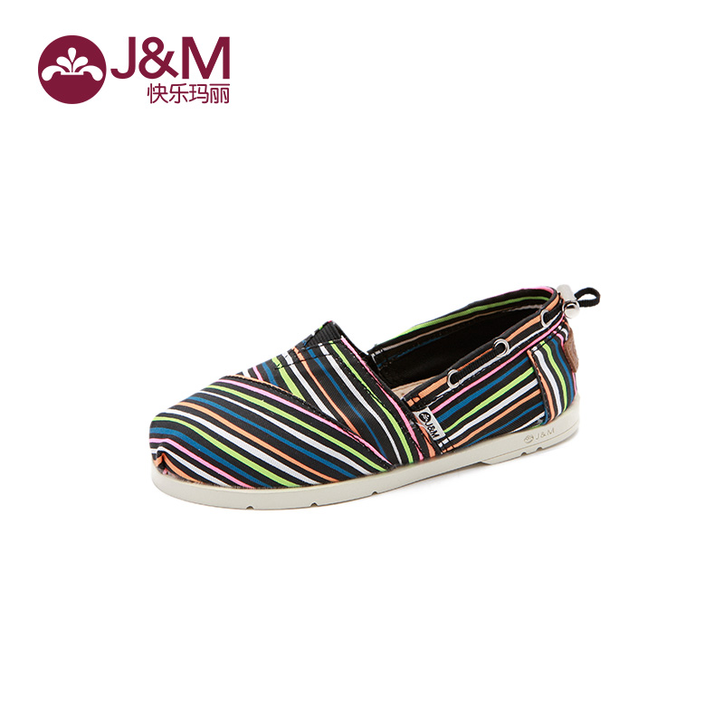 jm快乐玛丽春夏季新款懒人时尚卡通彩条纹童鞋平底儿童鞋子 美观实用 可调节织带 时尚吸睛 撞色条纹