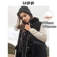 Lagogo2019冬季新款纯色羽绒服中长款防保暖羽绒马甲女HCYY138G16