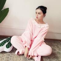 秋冬新款韩版珊瑚绒睡衣女清新甜美可爱公主家居服套装