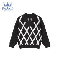 【秒杀价:79元】水孩儿男童条纹格子线衣2109冬季新款男童时尚文艺套头线衣