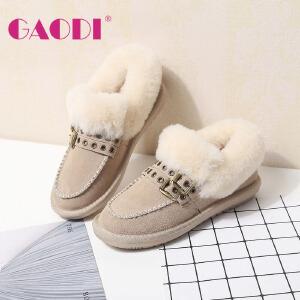 高蒂毛毛鞋女冬加绒雪地靴外穿韩版平底休闲鞋牛绒羊毛拼接棉鞋女