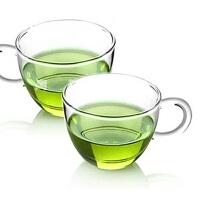 6只装玻璃茶杯子 红茶杯功夫茶具80ML玻璃小茶杯带把品杯透明品茗杯子耐热杯 功夫夫茶具