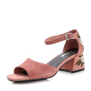 Belle/百丽2017夏刺绣复古知性羊绒皮露趾女凉鞋34601BK7