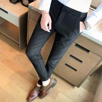 商务职业正装青年不系腰带韩版修身男弹力松紧腰带休闲裤西装长裤
