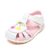 【每满200减100】 Pinkii/苹绮鞋柜儿夏季童鞋包头樱桃软底魔术贴女童甜美公主凉鞋
