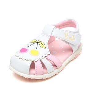 Pinkii/苹绮鞋柜儿夏季童鞋包头樱桃软底魔术贴女童甜美公主凉鞋
