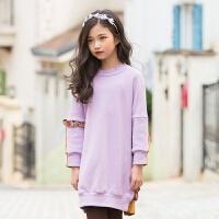 2019 女童加绒连衣裙冬季 韩版新款长袖公主裙 中大童裙子 拼色