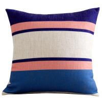 蓝色几何图案靠垫北欧棉麻现代简约抱枕套样板房家用客厅沙发靠垫