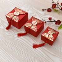 结婚用品喜糖盒 创意糖盒喜糖袋中式牡丹喜字喜糖礼盒婚礼喜糖盒 浪漫世界四方流苏喜糖盒