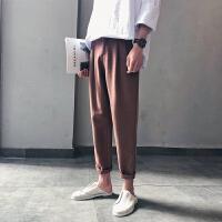夏季2018新款学生百搭哈伦裤男韩版潮流嘻哈复古直筒休闲裤九分裤