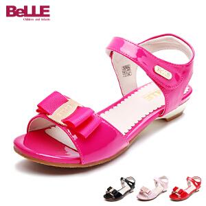 百丽Belle童鞋2018女孩时装凉鞋优雅女童凉鞋时尚小低跟学生夏款休闲鞋 (6-15岁可选) DE0352