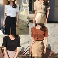 春装2018新女韩风复古文艺POLO领针织衫潮坑条纯色显瘦短袖上衣