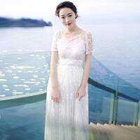夏季新品刺绣蕾丝连衣裙波西米亚长裙海边度假沙滩裙 白色 XZD107