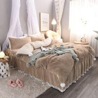 公主风兔兔绒四件套冬季加厚保暖珊瑚绒法莱绒1.8m床单被套床裙款 2.2m(7英尺)床 床裙款
