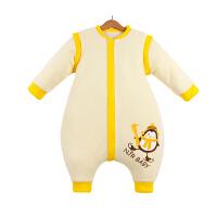 南极人品牌 婴儿睡袋秋冬加厚款宝宝分腿睡袋 黄色(加厚款) M码/适合身高85cm以下