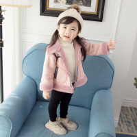 女童秋冬装外套2018新款韩版儿童加绒棉衣宝宝加厚洋气麂皮绒上衣