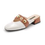 星期六(ST&SAT)2019年春季同款羊皮革拼色金属装饰方跟潮流女穆勒拖鞋SS91110277