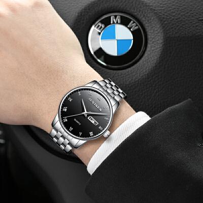 2018新款手表男学生石英钢带时尚潮流男士非全自动机械表