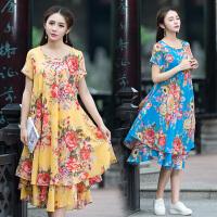中国风女装宽松大码连衣裙夏季新款民族风中长款棉麻印花朵连衣裙