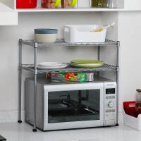 欧润哲 厨房用品可调竹节管微波炉架子置物架 多功能烤箱柜双层架