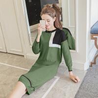 毛衣两件套女秋冬新款韩版时尚套装女装连衣套头针织衫套裙潮