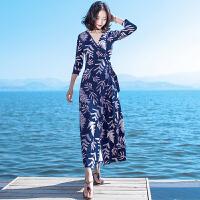 夏季新品女装长袖开叉修身雪纺连衣裙波西米亚长裙海边度假沙滩裙 蓝色